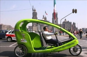 Replacing Centro Historico bicycle-taxis, the more stable, safer cyclotaxi's muscle-powered electic engine gives it a larger range and will eliminate more traffic within the area.