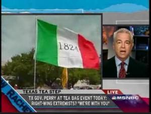 "Texas secessionists at ""Tea-bagger"" event, screenshot from Rachel Maddow Show, MSNBC"