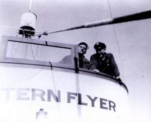 "Steinbeck (in cap) with Tom Berry, owner and captain of the ""Western Flyer"", the purse seiner chartered for the 1940 expedition."
