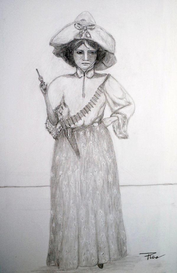 """""""Mujer y Revolucionario"""", Juan Piña Gámez, charcoal sketch, 2012 (University of Nuevo Leon)"""
