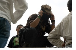 Subcomandante Marcos talks with America del Valle
